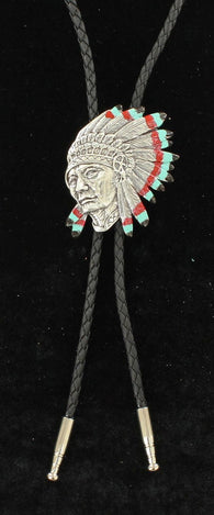 Western Indian Chief Portrait Bolo Tie