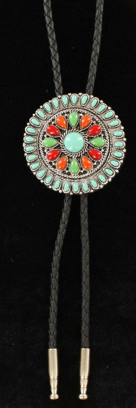 Western Round Bolo Tie with Multi-Colored Stones
