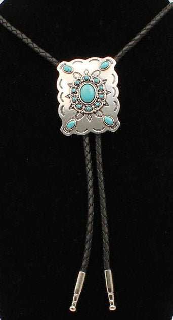 Silver Rectangle Western Bolo with Turquoise Stones