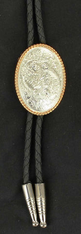 Western Silver Oval Bolo with Gold Rope Edge