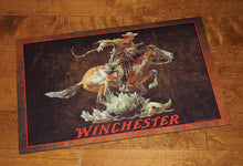 "Load image into Gallery viewer, ""Winchester"" Horse & Rider Western Rubber Door Mat - 26"" x 17"""