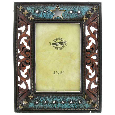"4"" x 6"" Turquoise Western Photo Frame"