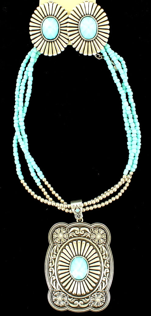 Western Silver & Turquoise Cushion Shaped Necklace and Earrings