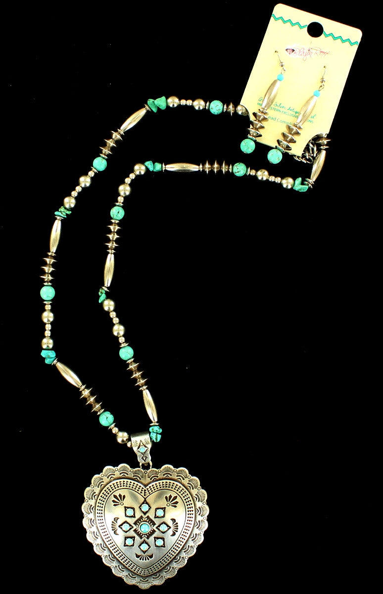 Western Silver & Turquoise Heart Shaped Necklace and Earrings