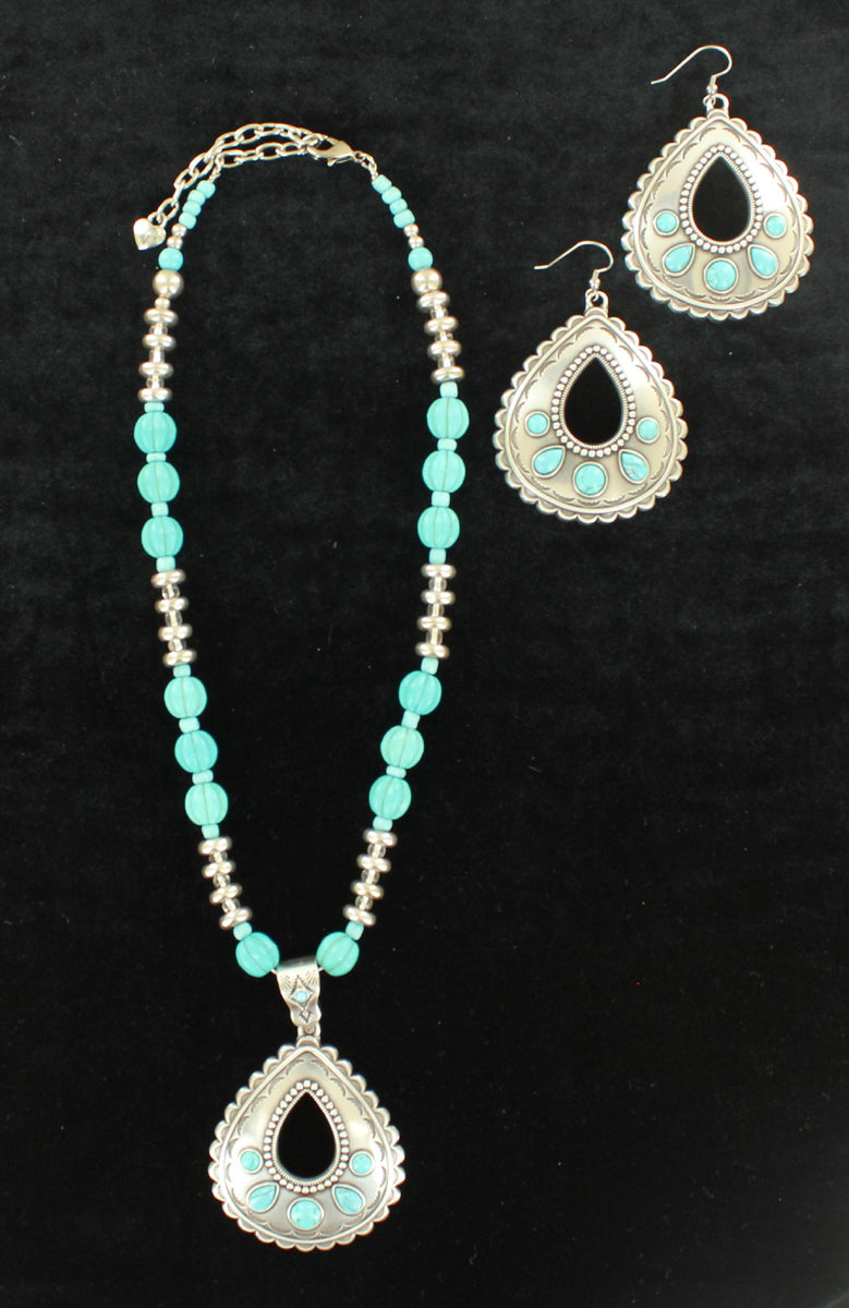 Silver & Turquoise Teardrop Necklace and Matching Earrings