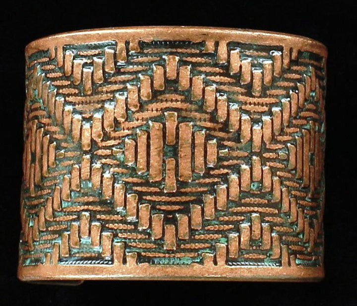 Western Copper & Turquoise Aztec Rope Design Cuff Bracelet