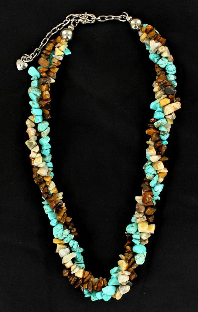 Triple Twist Turquoise & Brown Necklace