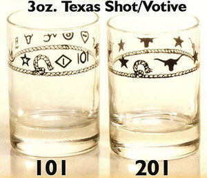 3 OZ. Western Shot/Votive Glasses - 4 Piece Set