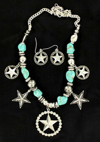 Western Stars Silver & Turquoise Necklace with Matching Earrings