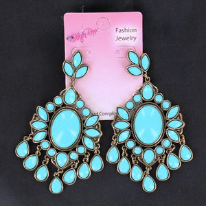 Western Turquoise Drop Chandelier Earrings