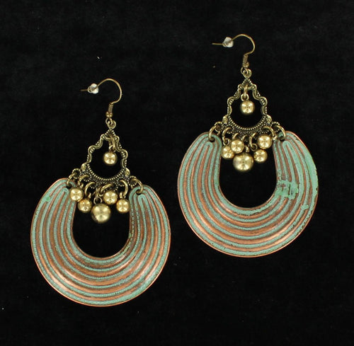 Blazin' Roxx Patina Disc Chandelier Earrings