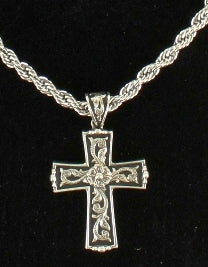 Twister Scrolled Cross Necklace