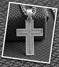 Load image into Gallery viewer, Men's Twister Gold & Silver Cross Necklace