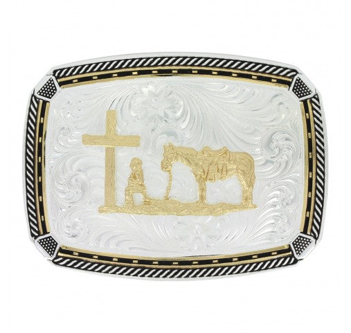 Two Tone Fastened at All Four Corners Belt Buckle with Praying Cowboy