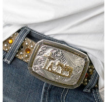 Load image into Gallery viewer, Two Tone Fastened at All Four Corners Belt Buckle with Praying Cowboy
