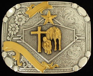 Rectangle Smith Edge Double Ribbon Cowboy Prayer Belt Buckle