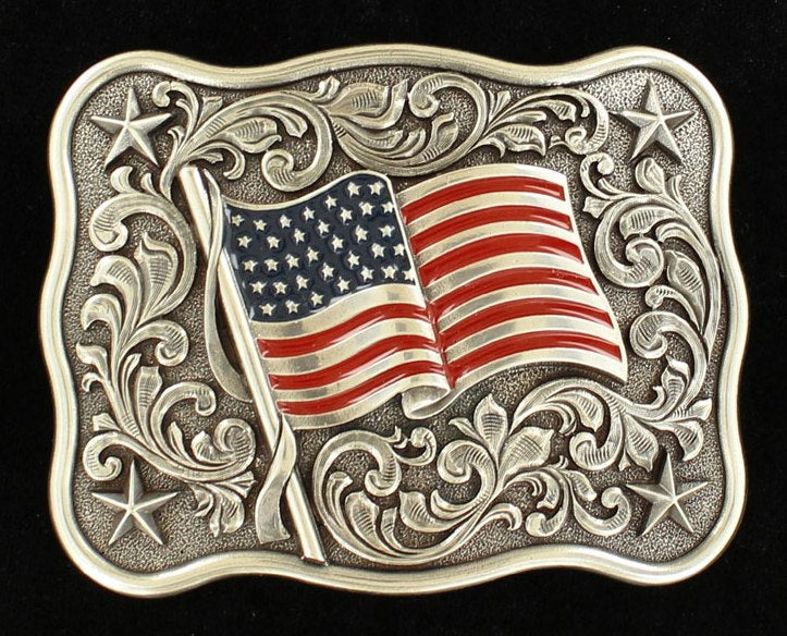 Scrolled Belt Buckle with USA Flag
