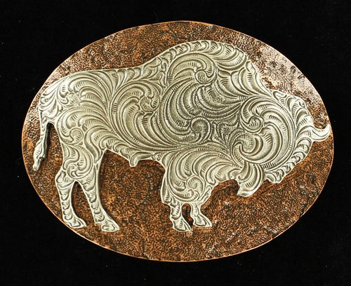 Hammered Edge Copper Background Silver Buffalo Buckle