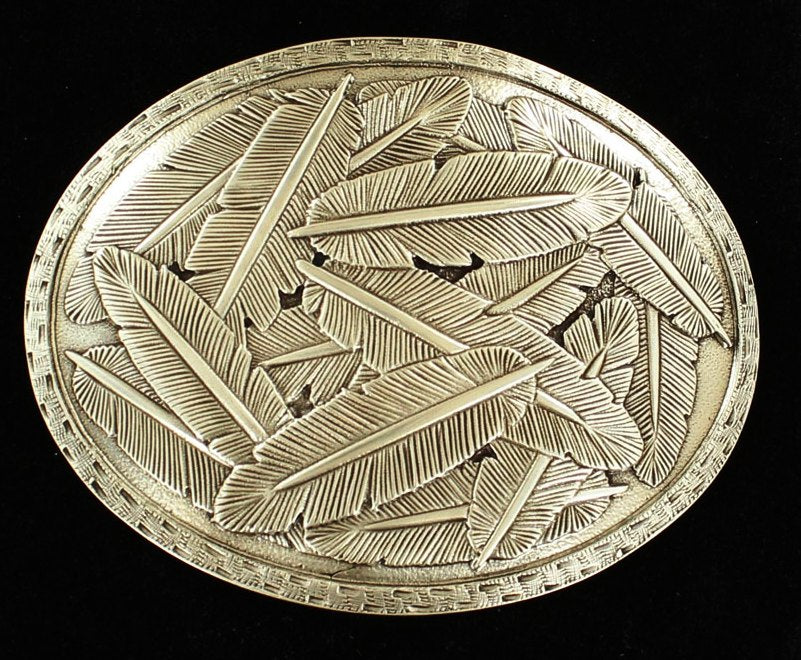 Scattered Feathers Silver Oval Buckle