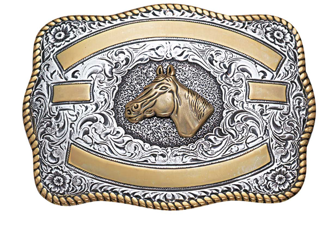 Western Trophy Buckle with Horse Head and Free Engraving