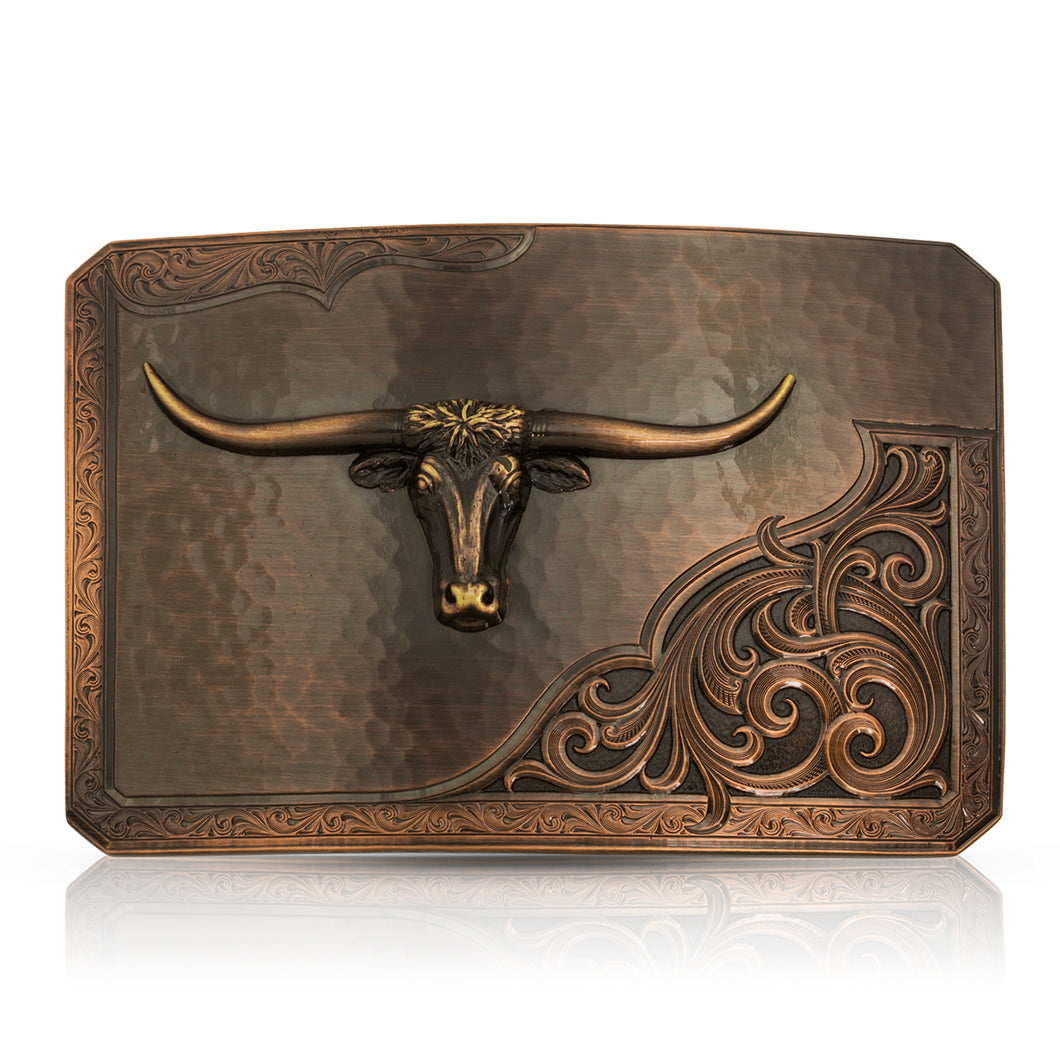 Rough Out with Longhorn Belt Buckle - Made in the USA!