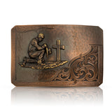 Rough Out with Praying Cowboy Belt Buckle - Made in the USA!