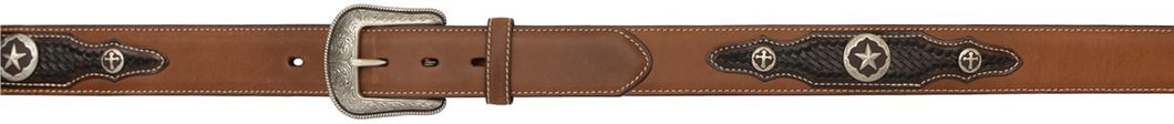 (3DB-9992) Men's Western 2-Tone Leather 1-1/2