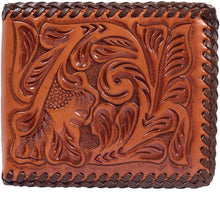 Load image into Gallery viewer, (3DB-AW127) Western Natural Tooled Leather Bi-Fold Wallet