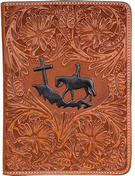 (3DB-BI193) Praying Cowboy Natural Tooled Leather Bible Cover