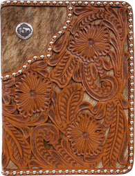 (3DB-BI283) Western Natural Leather/Hair-On Bible Cover with Praying Cowboy Concho