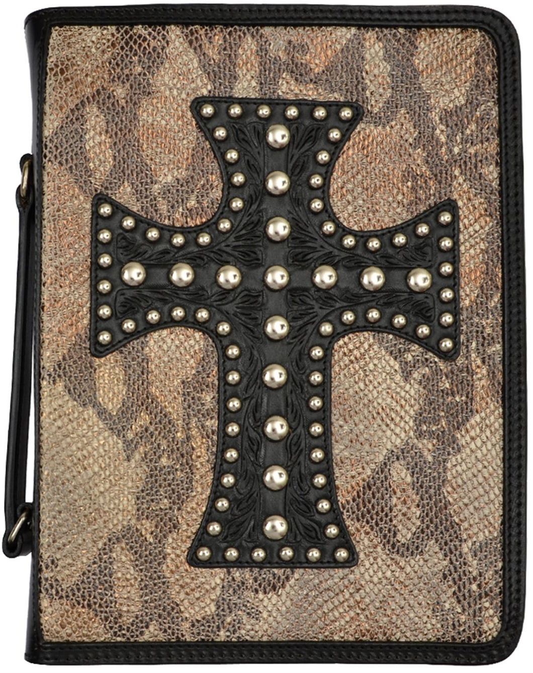 (3DB-BI300) Western Black Bible Cover with Cross and Snake Skin Print