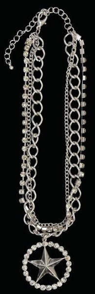 (3DB-BJ1033AS) Western Silver & Crystal Star Necklace