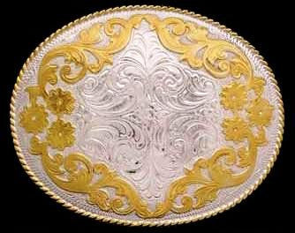 (3DB-BK1186GS) Western Ladies' Silver & Gold Belt Buckle
