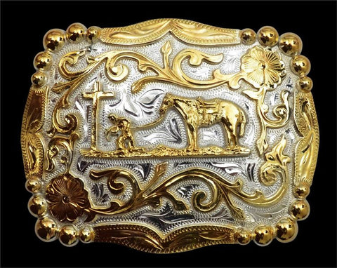(3DB-BK320) Western Silver & Gold Scrolled Praying Cowboy Belt Buckle