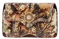 (3DB-BPH24) Western Camo Leather Cell Phone Holder for iPhone 4 and Blackberry with Swivel Clip and 12 Gauge Shotgun Shell Concho