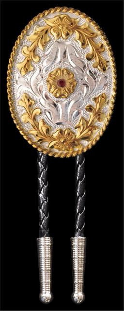 (3DB-BT106) Western Gold & Silver Oval Bolo Tie with Red Crystal