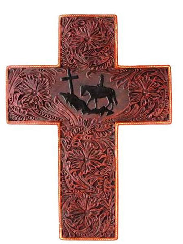 (3DB-CR141) Western Praying Cowboy Tooled Cross