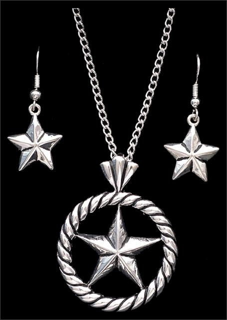 (3DB-EN1200) Western Silver Strike Star Necklace & Earrings