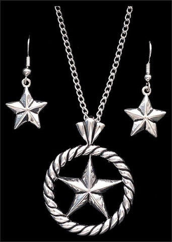 3e1341ada Western Silver Strike Star Necklace & Earrings – Wild West Living