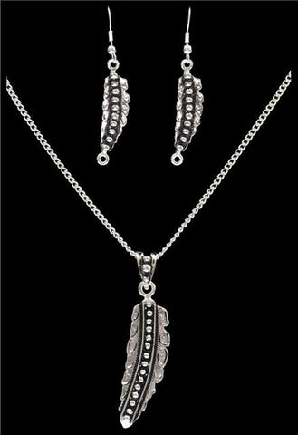 (3DB-EN2180) Western Silver Feather Necklace and Matching Earrings