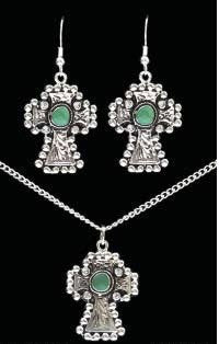 (3DB-EN2210) Western Silver & Turquoise Necklace and Matching Earrings