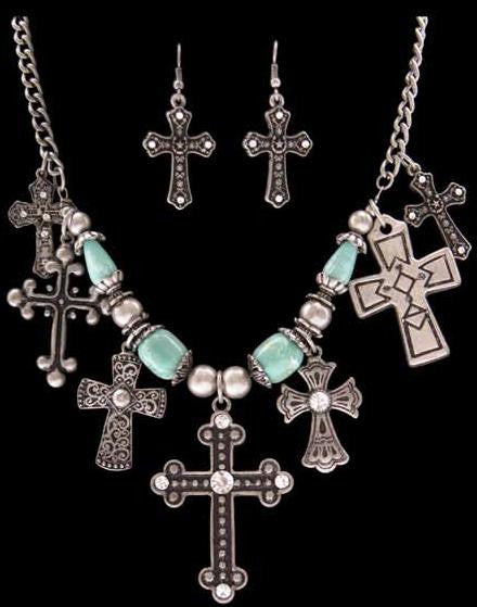(3DB-FSET0106) Western Silver, Black & Turquoise Necklace & Matching Earrings