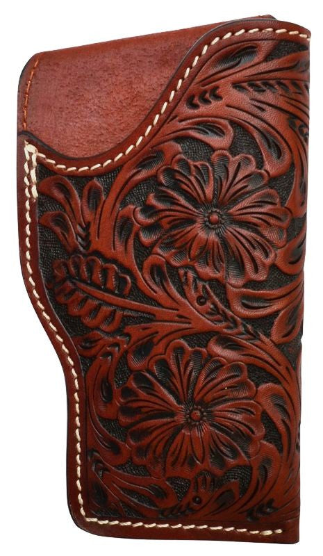 (3DB-HOL131) Western Tan Tooled Leather Glock Holster