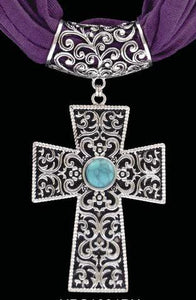 (3DB-HPS1001PU) Western Silver & Turquoise Cross Pendant with Purple Scarf