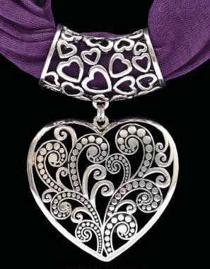 (3DB-HPS1004PU) Western Heart Pendant with Purple  Scarf