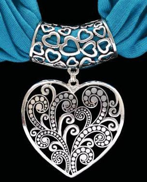 (3DB-HPS1004TB) Western Heart Pendant with Teal Blue  Scarf