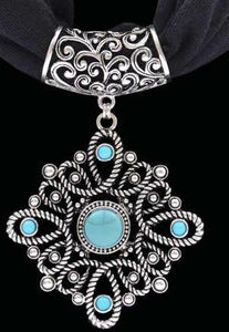 (3DB-HPS1007BK) Western Silver & Turquoise Pendant with Black Scarf