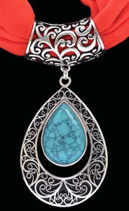 (3DB-HPS1008RD) Western Turquoise & Silver Pendant with Red Scarf