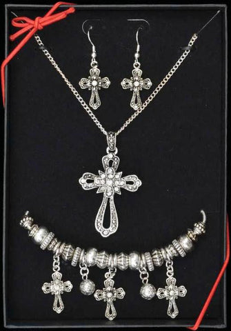 (3DB-JG002) Western Antique Silver Cross Neclace, Earrings and Bracelet