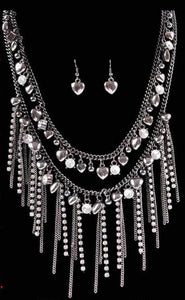 (3DB-KMN3169H) Western Hematite & Crystal Dangle Necklace and Heart Earrings